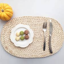 home kitchen dining natural rattan placemats round oval woven tablemats for dining table outdoor 17 x 11 white