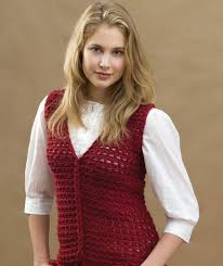 Crochet Vest Pattern Delectable Crochet LoopCable Vest Red Heart