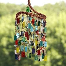 glass wind chimes old fashioned chinese stained colored sun catcher garden art spiral punk rock whirligig
