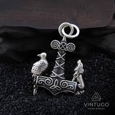 vintugo 925 sterling silver viking wolf raven thor s hammer pendant necklace