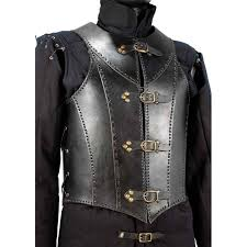 this quality piece riveted leather armor is tied on the sides and has four straps with buckles to adjust and lock it individually use this armor and you re
