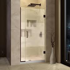 dreamline unidoor plus 29 37 w x 72 h hinged shower door with stationary panel half frosted glass door free modern bathroom