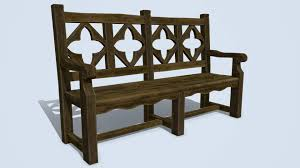 antique wooden bench. Icon Antique Wooden Bench