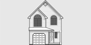 house front color elevation view for 9920 narrow lot house plans small lot house plans