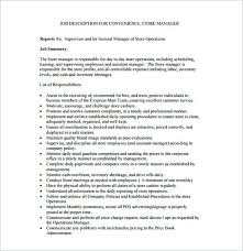Job Description For Convenience Store Manager Free Template