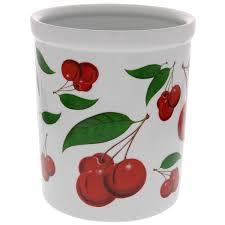 Retro Cherry Kitchen Decor Red Cherries Ceramic Kitchen Crock Utensil Holders Retroplanetcom