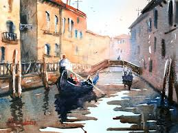 venice building reflections gondolas bridge over c watercolor painting