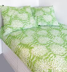double cotton sheet green white