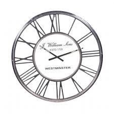 large chrome metal roman numeral 80cm diameter round wall clock intended for large black kitchen wall clocks