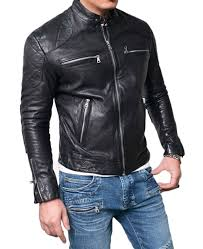 men s motorcycle quilted shoulder lambskin leather jacket