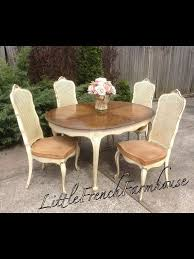 dining room set by mylilfrenchfarmhouse por items for cane chair on etsy using a yellow tint finish with cream an wood stain finish