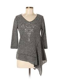 One World Dress Size Chart Details About One World Women Gray 3 4 Sleeve Top Med Petite