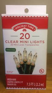 holiday time 20 clear mini lights christmas green wire