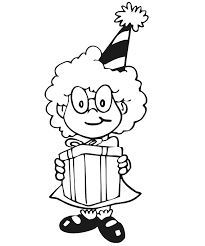 Small Picture Birthday Coloring Page A Girl With Hat Holding A Gift