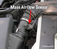 Mass air sensor are always located on the tube off the air cleaner with a electrical plug in harness controls the air fuel mixture. P0100 Mass Air Flow Circuit Malfunction