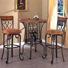 three piece round pub table and upholstered seat bar stool set