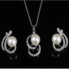 fashion elegant sweet imitated pearl diamond necklace earrings set simple lovely jewelry set silver one size