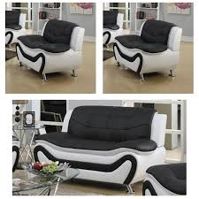 frady black and white faux leather modern living room loveseat and 2 chair set com