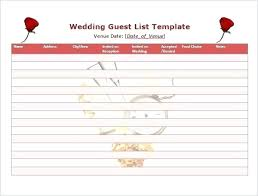 Excel Guest List Printable Wedding Guest List Template Excel Invite Voipersracing Co