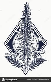 сосновых деревьев гор компас татуировки символом туризма лес рок