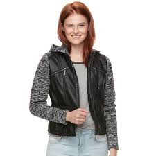 coats jackets juniors j 2 knit sleeve faux leather jacket black 117674769 outerwear