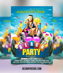 Free Photoshop Templates For Party Flyers Free Beach Party Flyer Psd