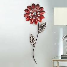 metal wall art red flowers