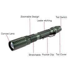 Đèn pin tập trung ánh sáng 8000Lm có thể phóng to T6 18650