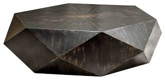 faceted large round wood coffee table modern geometric block solid