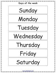 Chart Activities For Preschool Free Printable Learning S Kids Worksheets Days Of The Week