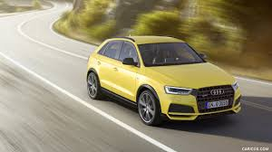 audi q 3 2018. simple 2018 2018 audi q3 20 tfsi quattro sline color tukan yellow  front  threequarter wallpaper in audi q 3
