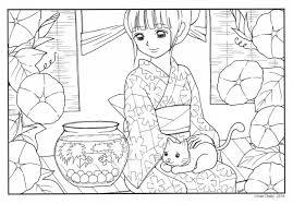 大人の塗り絵 7月朝顔と金魚鉢 Chabis Coloring Calendar