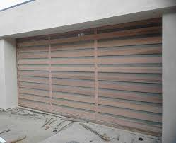 white wood garage door. El Moderno - Contemporary Wood Garage Door And Vertical White Laminated Glass With Is One Of The Best High Quality Series.