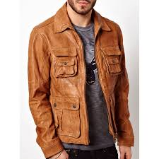 mens tan brown er leather jacket zoom mens