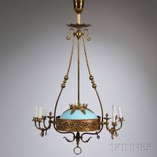 victorian brass six light gas chandelier with blue opaline glass dome shade