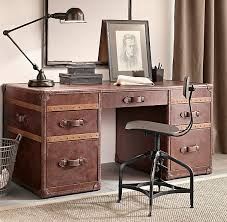 mayfair vintage cigar leather desk from restoration hardware