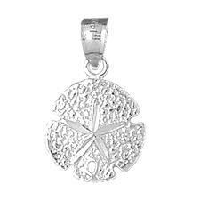 sterling silver sand dollar pendant rhodium yellow or rose gold plated