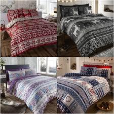 nordic fair isle scandinavian winter duvet quilt cover bedding set