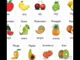 fruit names chart english to hindi