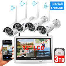 Özel teklif 0% OFF - 1536P 8CH kablosuz CCTV güvenlik kamera sistemi H.265  12 inç LCD ekran NVR WIFI açık IP kamera 3MP monitör