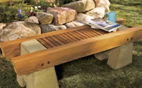 concrete and wood garden bench plan