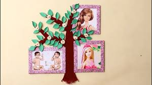 diy tree photo frame for family room decoration idea