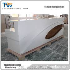 led acrylic solid surface reception desk tops for hotel customized design modern front office desk factory supply interior stone reception counter top