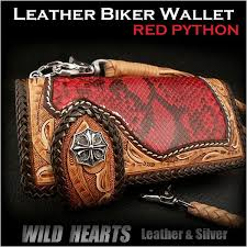 biker wallet red python genuine cowhide leather handcrafted carved leather custom handmade wild hearts leather silver item id lw1144
