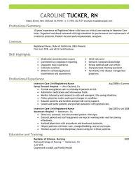 Best Intensive Care Unit Registered Nurse Resume Example