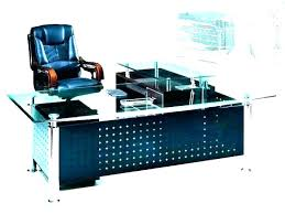 clear glass computer desk with storage post compact d