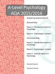 this research based project is designed to give you an ideal a level psychology aqa 2015 2016 student teachers student hand