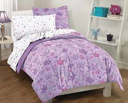girls twin sheet set amazon com dream factory purple princess hearts and crowns girls