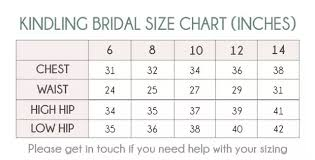 Kindling Bridal Wedding Dress Size Guide