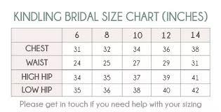 Wedding Dress Size Chart Kindling Bridal Wedding Dress Size Guide